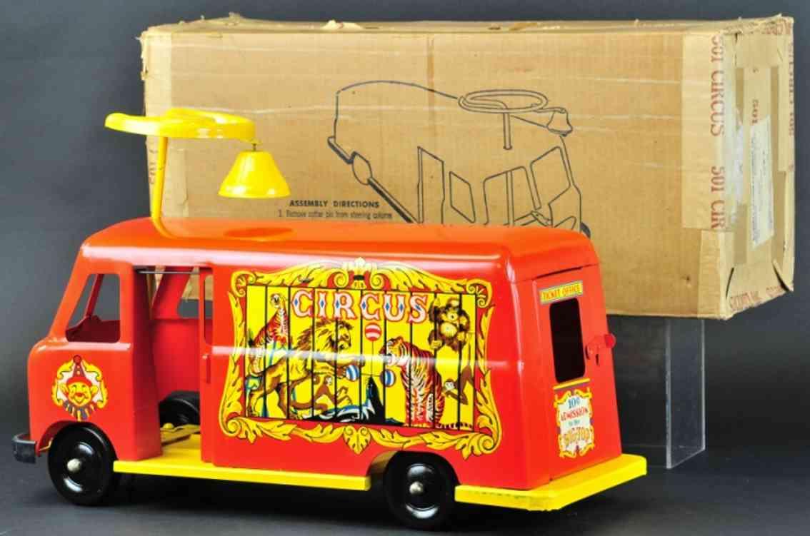 robert's manufacturing co stahlblech spielzeug zirkus aufsitz wagen