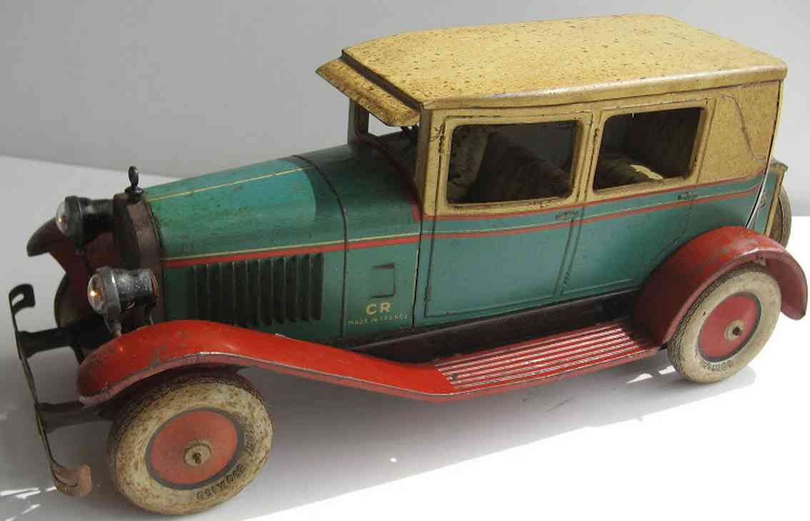 charles rossignol 1002 blech spielzeug auto cabriolet de luxe type d8 lithografiert in blau, mit fahrer