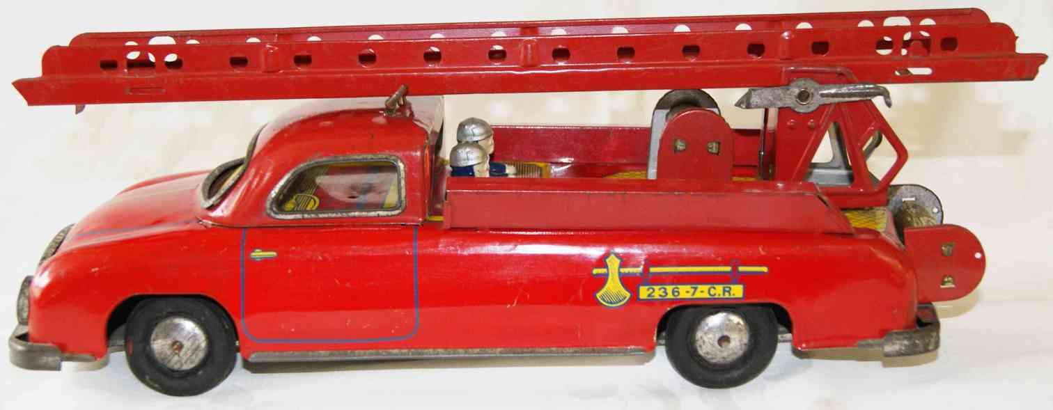 charles rossignol 236-7 blech spielzeug franzoesischer feuerwehrleiterwagen