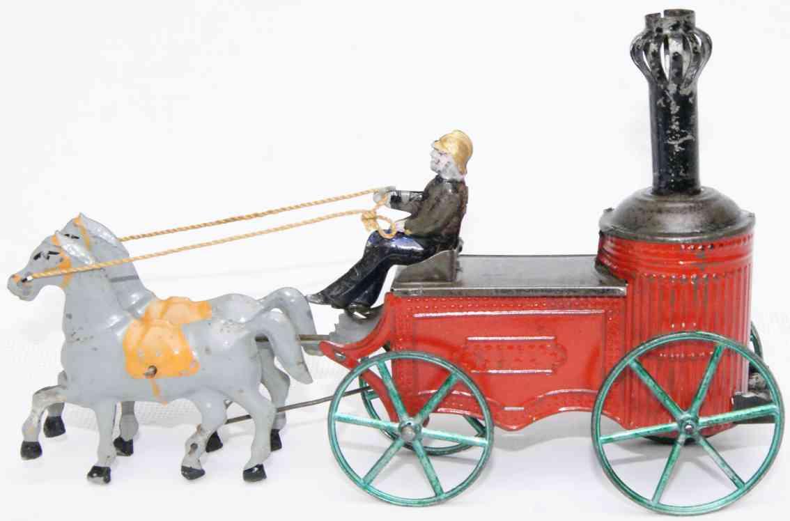 charles rossignol 385 blech spielzeug feuerwehr feuerwehr kesselwagen, pferdegespann mit 2 pferden, ein feue