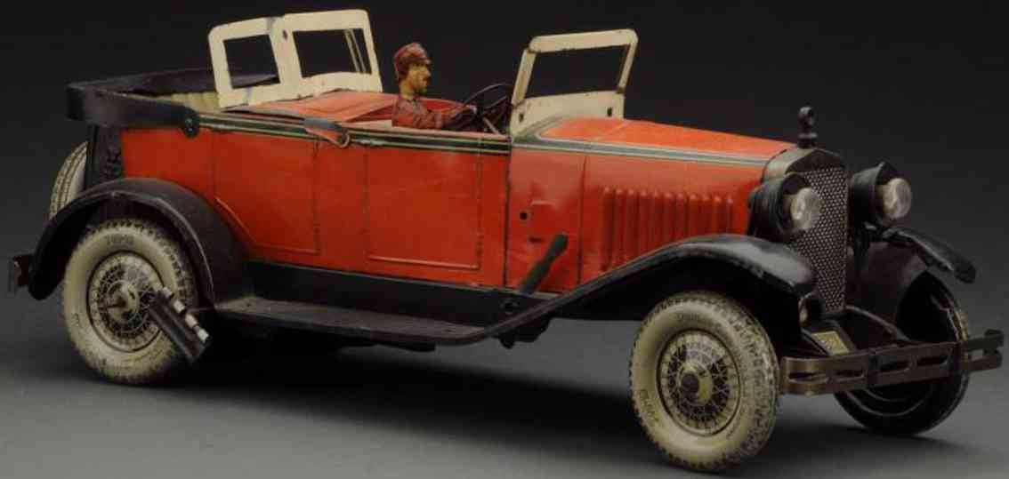 charles rossignol auto tin toy car wind-up delage auto phaeton driver red black