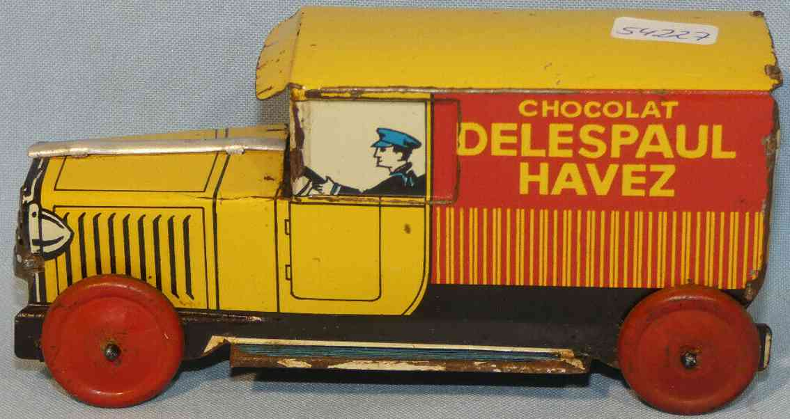 charles rossignol  chocolat delespaul havez tin toy truck advertising car chocolate factory