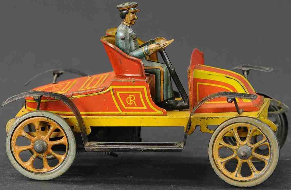 charles rossignol blech spielzeug auto offener tourenwagen fahrer rot gelb