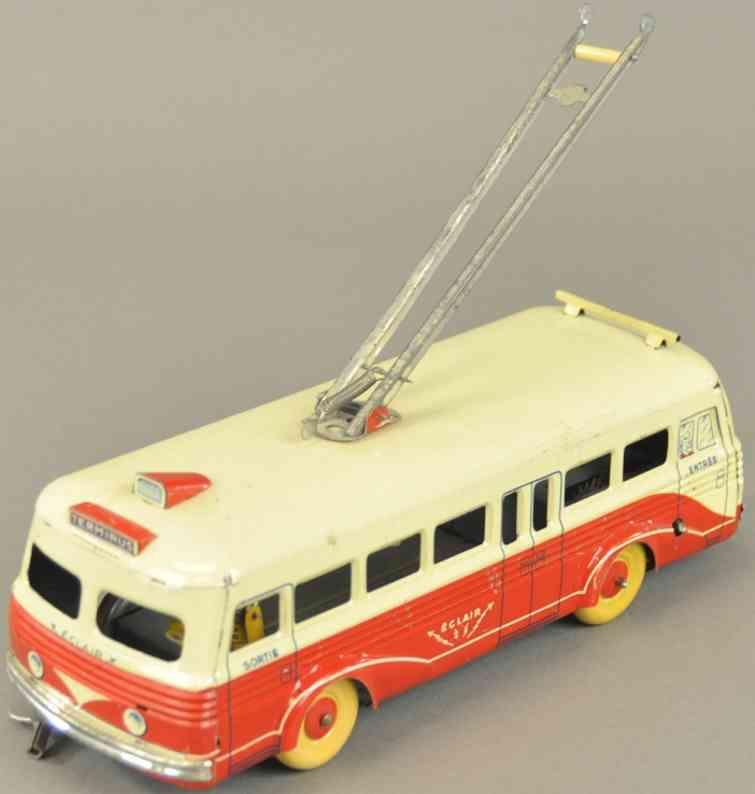 rossignol blech spielzeug innenstadtbus mit stromabnehmer rot weiss