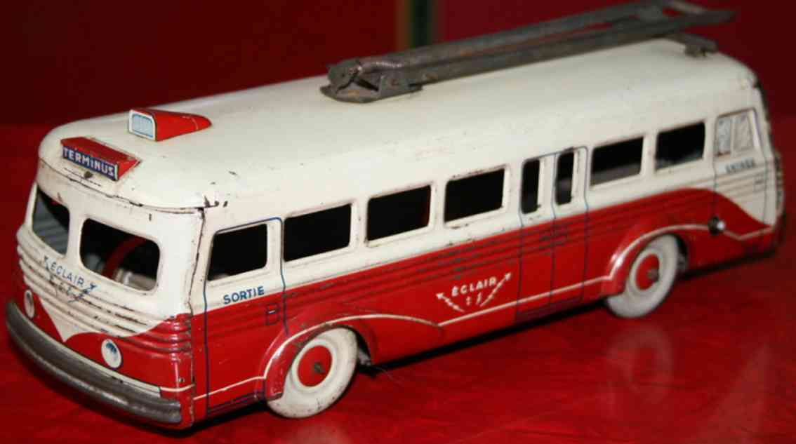 rossignol tin toy wind up trolley bus