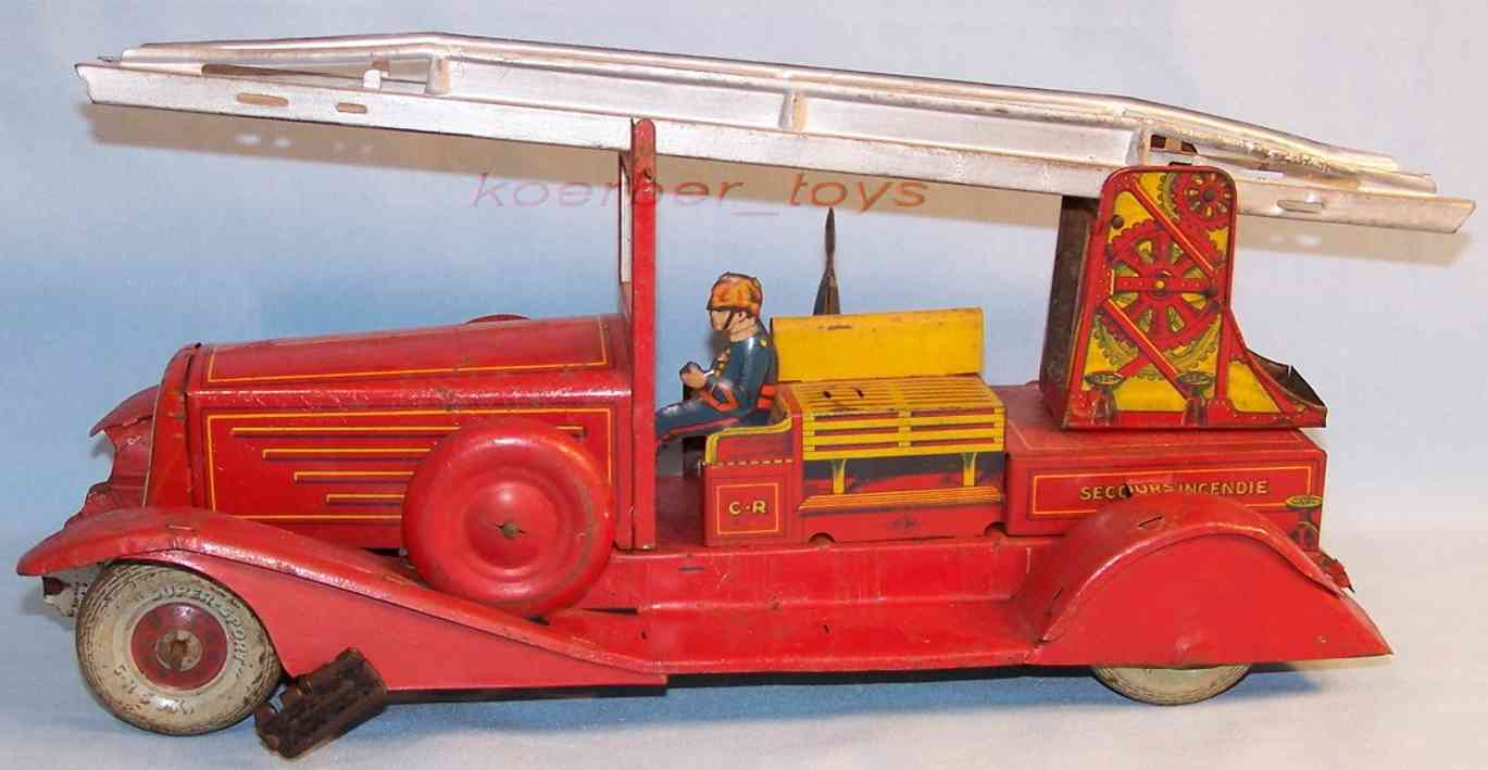 rossignol tin toy fire engine ladder car
