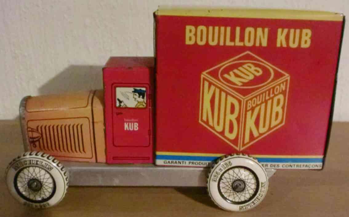 rossignol tin toy truck van bouillon kub