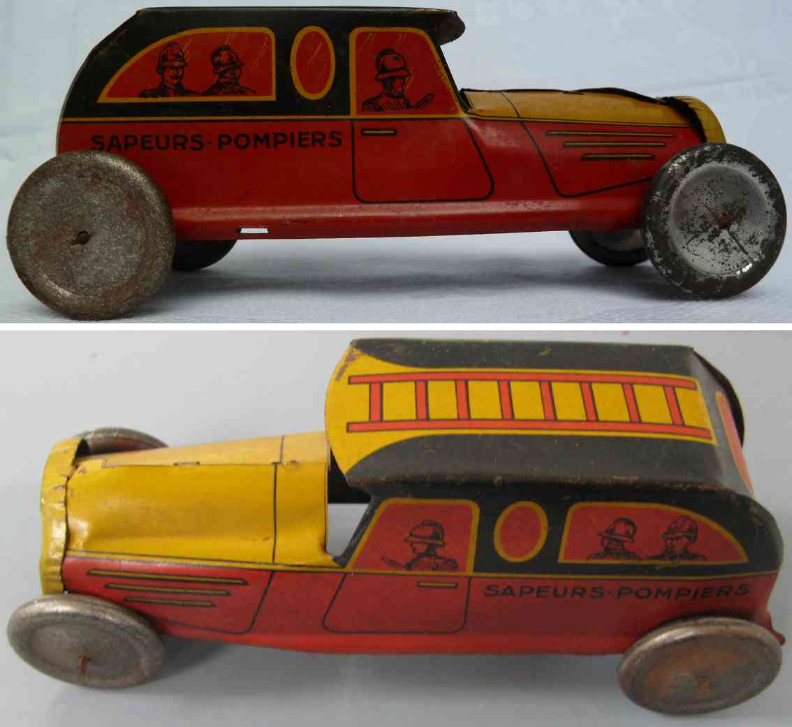 roussy louis 1946 tin toy french fire car