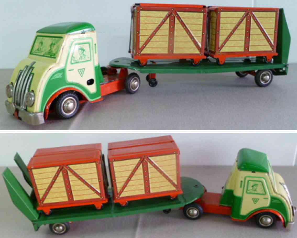 ruff hans D-901 tin toy truck two container