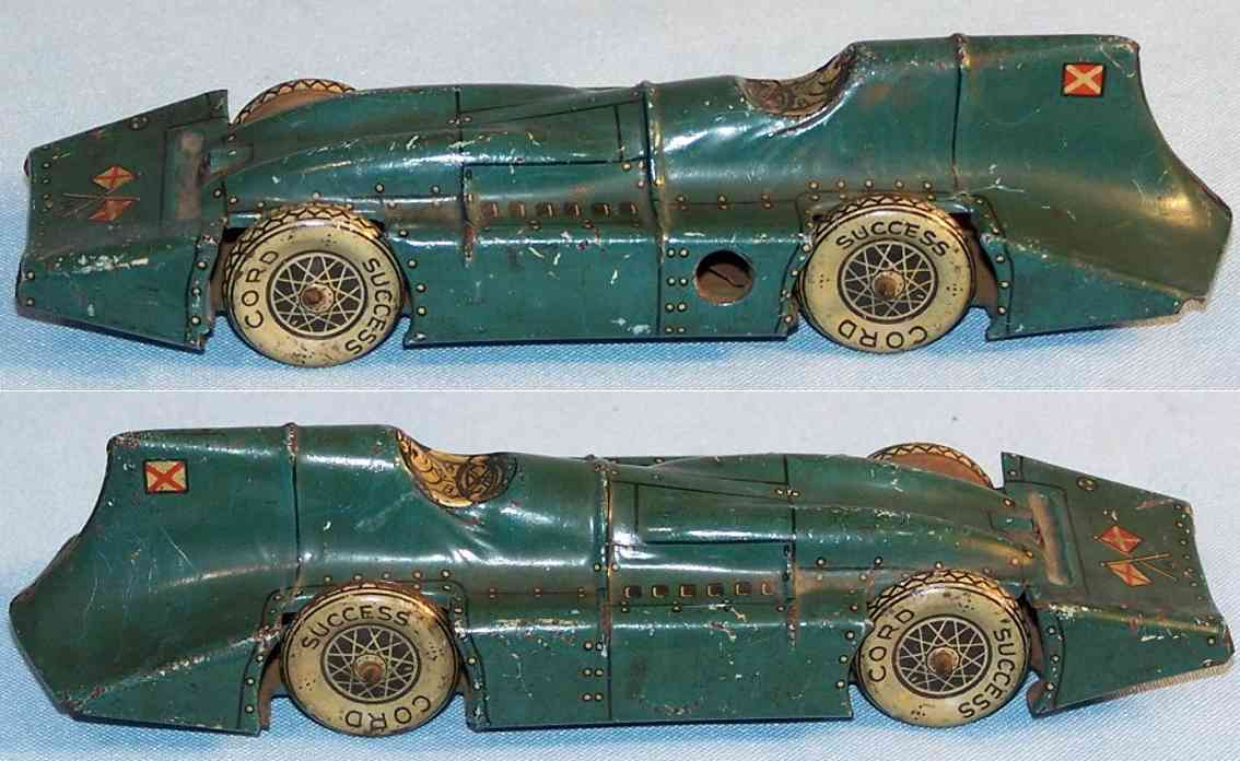 saalheimer & strauss tin toy race car racing car with clockwork, lithographed in diamond-green, bl