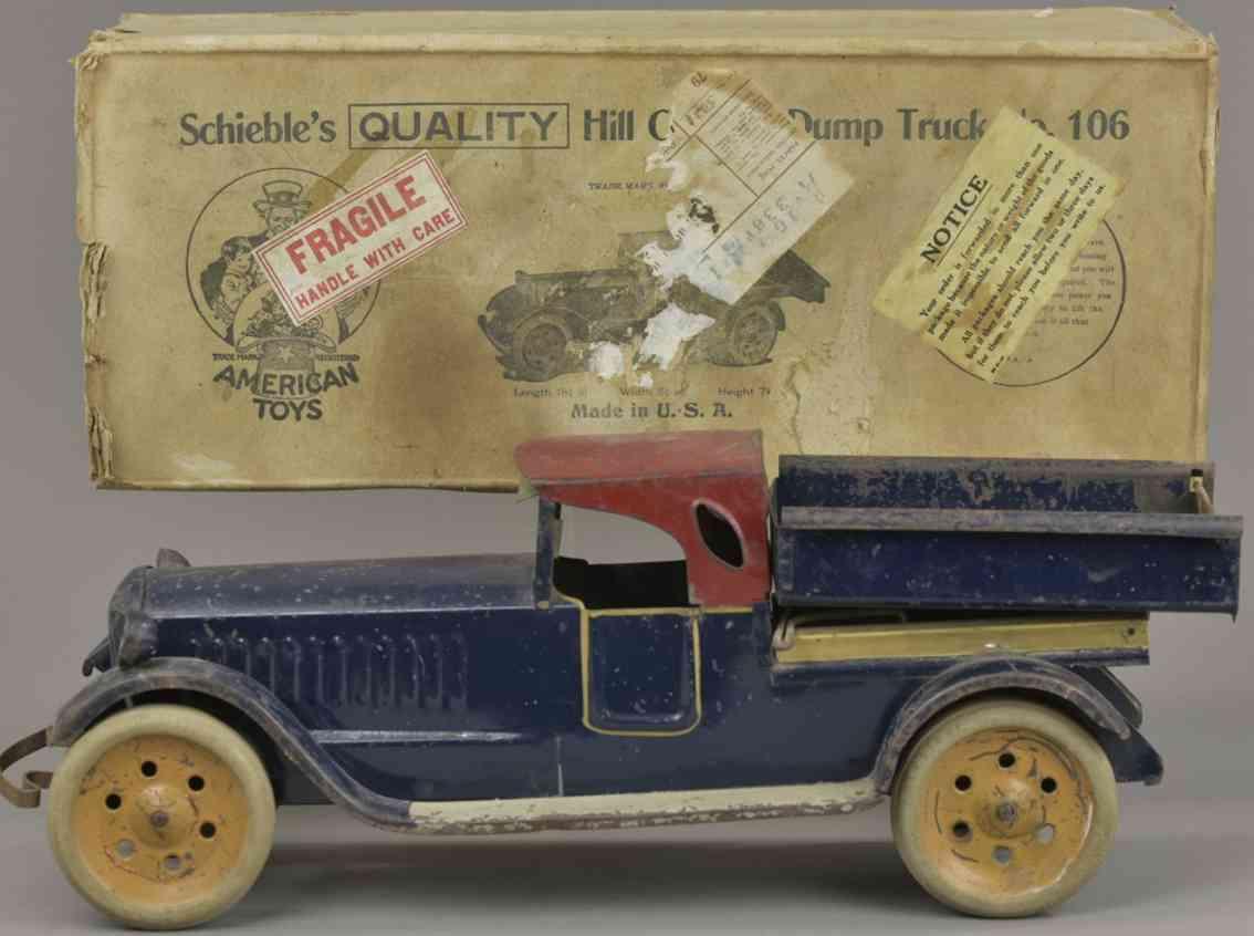 schieble 106 blech spielzeug kipplastwagen blau rot