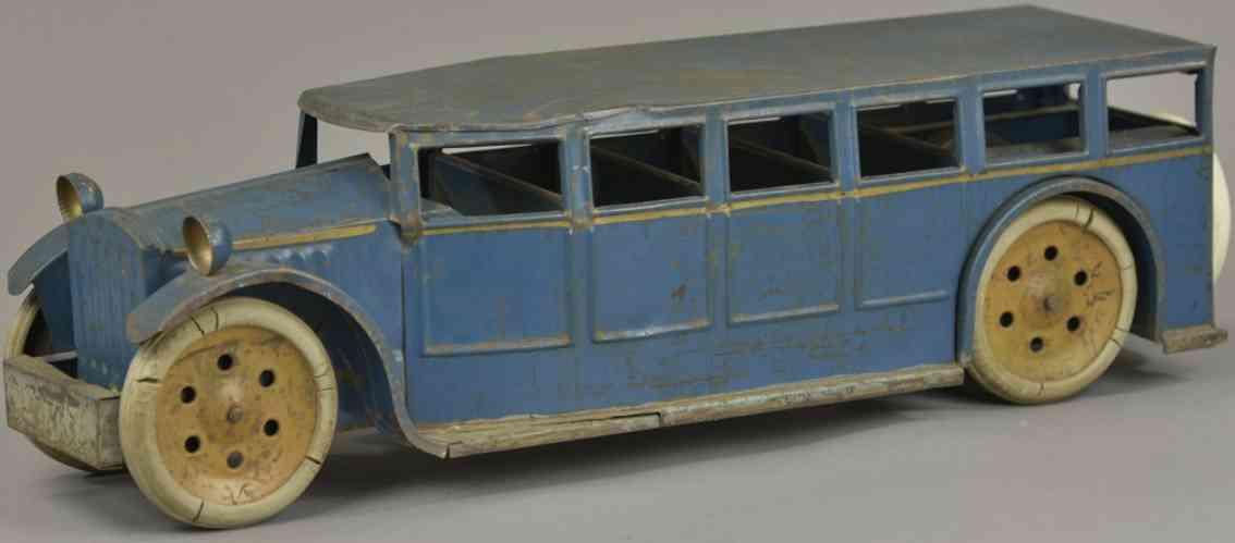 schieble pressed steel toy passenger bus blue