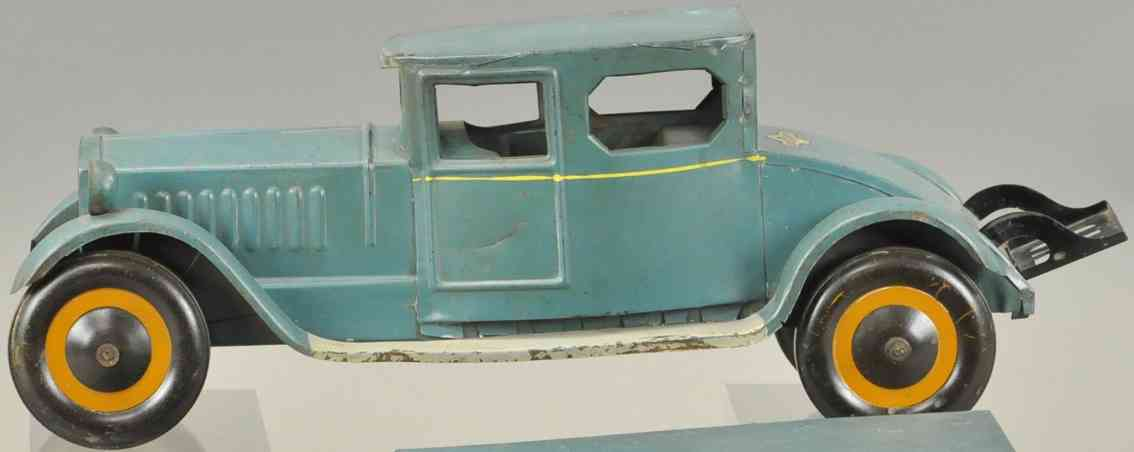 schieble tin toy car sedan blue two headlights