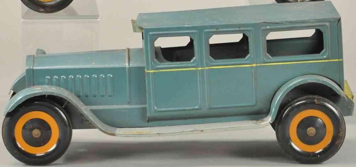 schieble tin toy car sedan blue two headlights
