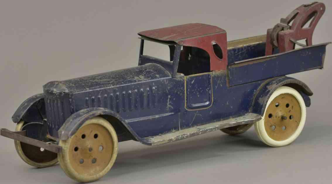 schieble blech spielzeug lastwagen blau rot winde kran