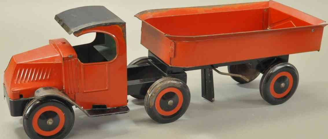 schieble tinplate toy tractor trailer dump truck red black