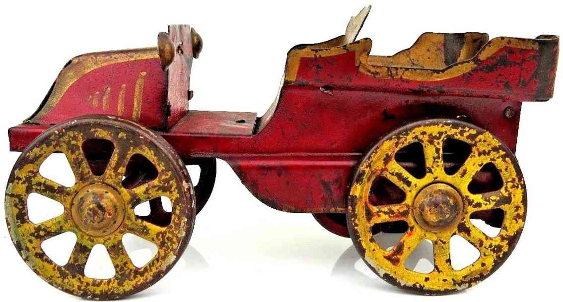 schieble pressed steel toy car hillclimber red flywheel