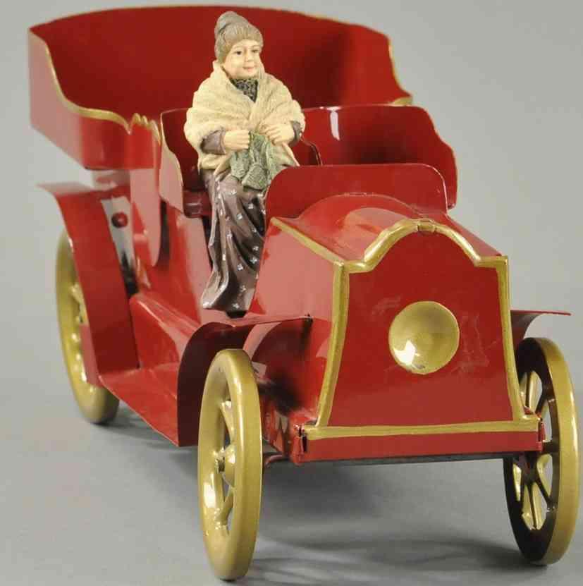 schieble blech spielzeug auto limousine in rot mit frau