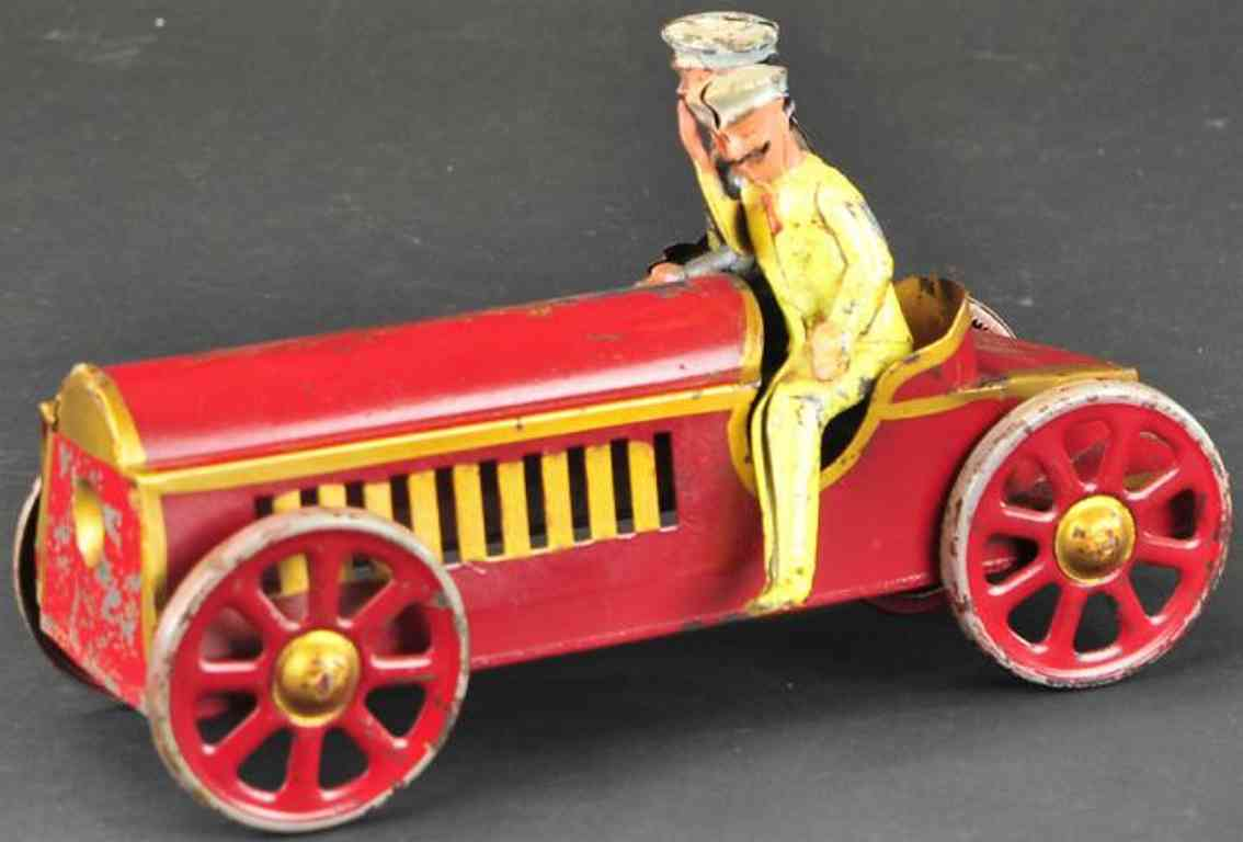 schieble tin toy race car early sport racer, scarce pressed steel example, painted in