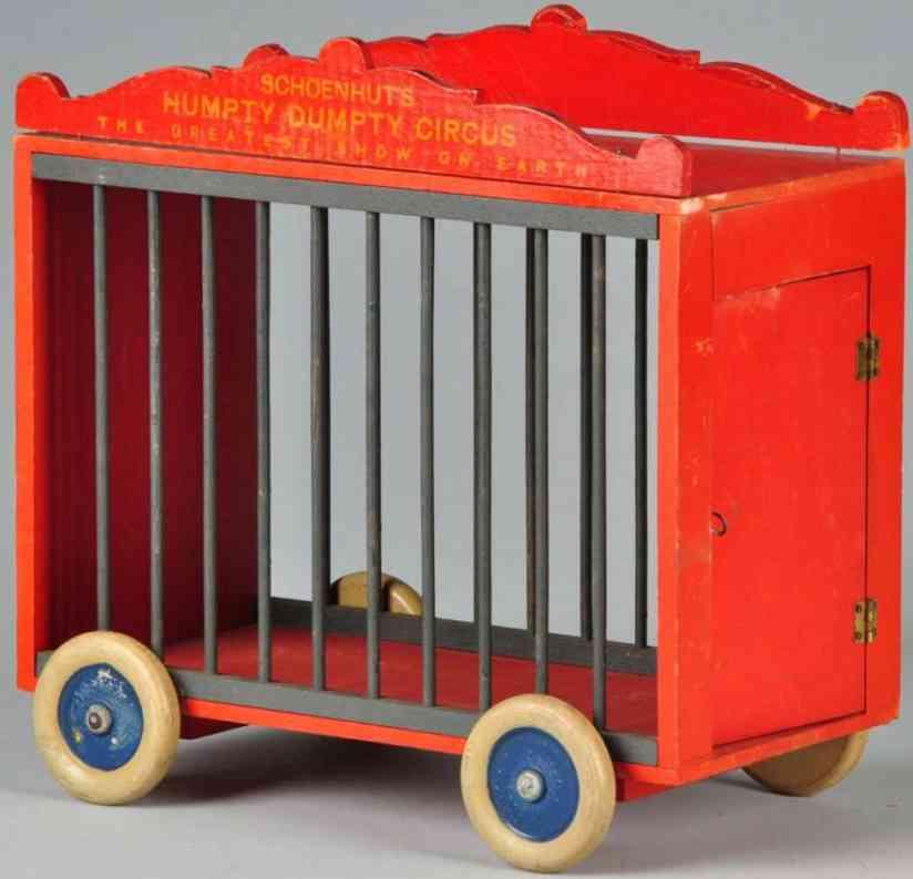 schoenhut holz spielzeug humpty dumpty zirkus-kaefigwagen