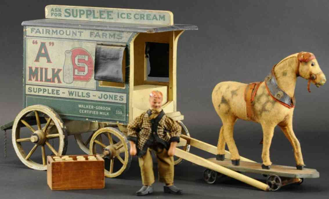 schoenhut wooden toy dairy wagon horse fairmont farms driver