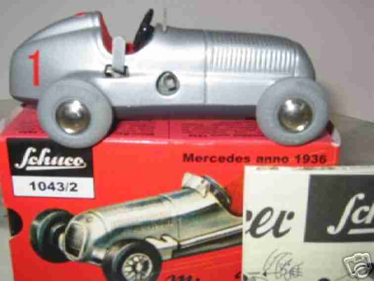 schuco 1043/2 blech spielzeug rennauto mercedes 1936 in rot oder silber