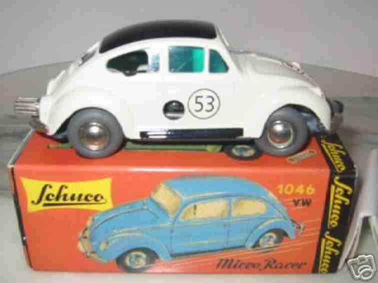 schuco 1046 blech spielzeug auto vw-käfer mit uhrwerkantrieb in weiß, rot, blau, grün