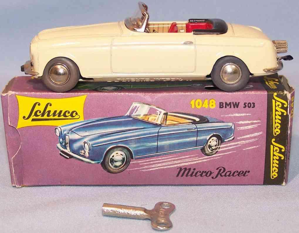 schuco 1048 blech spielzeug auto micro racer bmw 503 uhrwerk beige