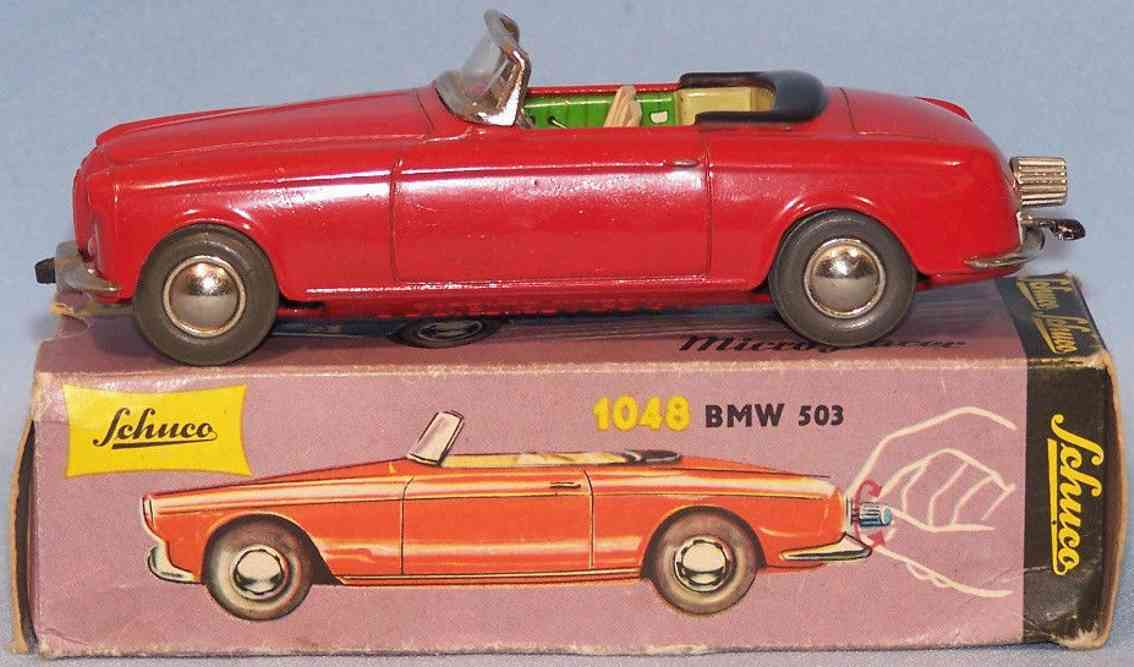 schuco 1048 blech spielzeug rennauto micro racer bmw503  uhrwerk rot