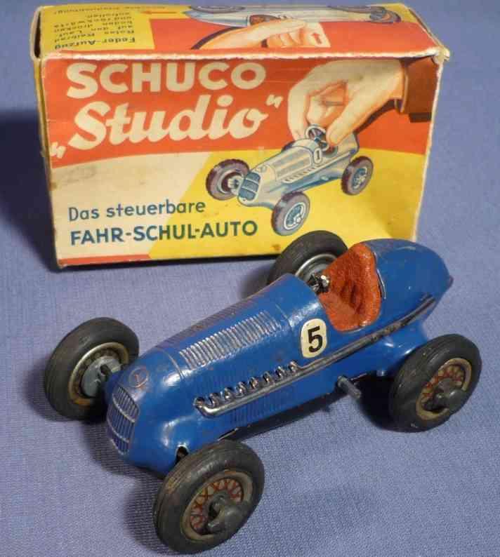schuco 1050/5 blech spielzeug rennauto rennwagen studio in blau