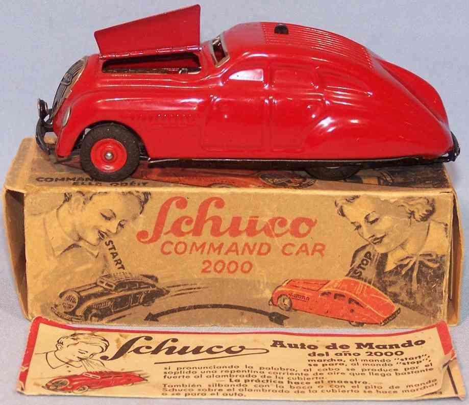 schuco 2000 blech spielzeug commando auto uhrwerk rot