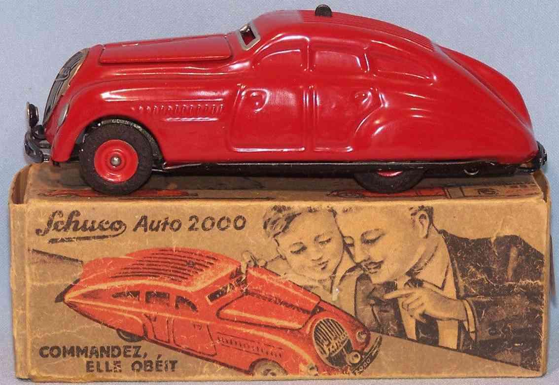 schuco 2000 blech spielzeug kommando-auto rot