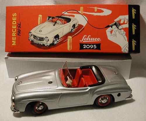 schuco 2095 blech spielzeug auto mercedes sportwagen silber
