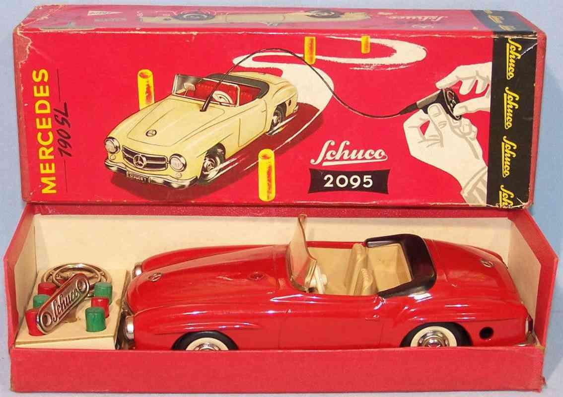 schuco 2095 blech spielzeug auto mercedes 190 sl  rot