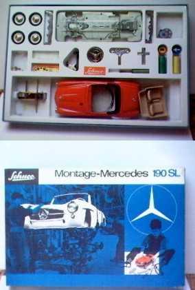 schuco 2097 blech spielzeug auto bausatz des mercedes modxel 190 sl mit verpackung