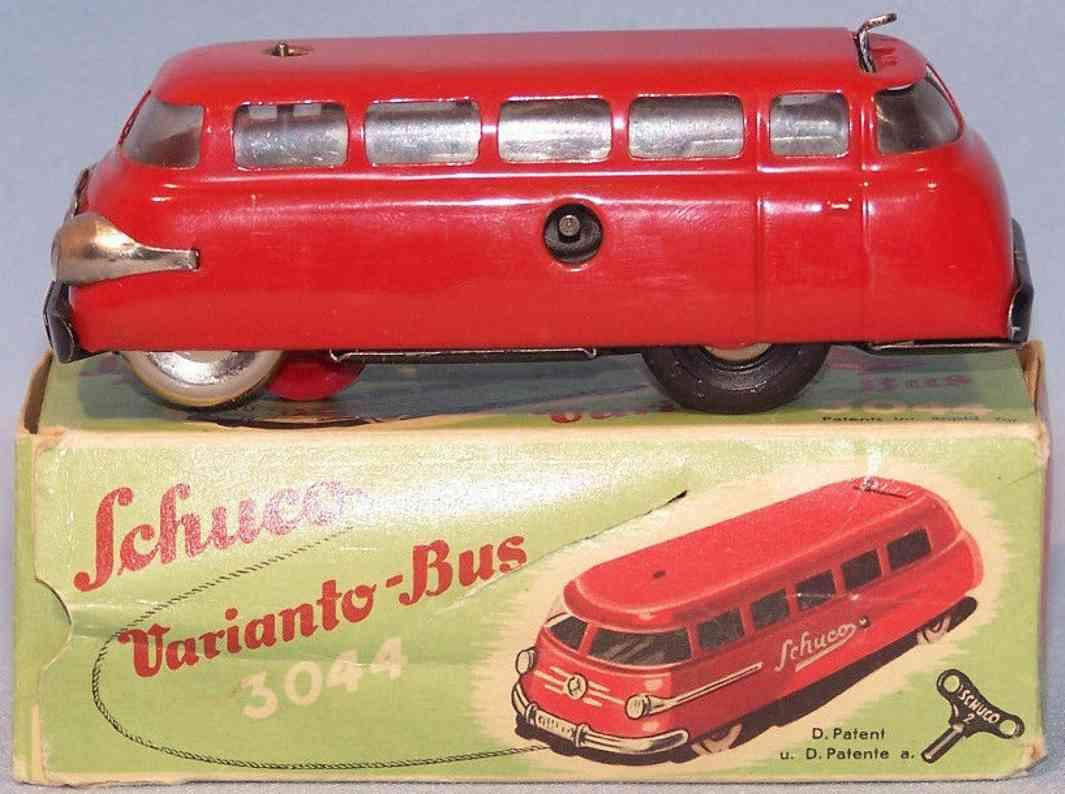schuco 3044 blech spielzeug varianto bus uhrwerk rot