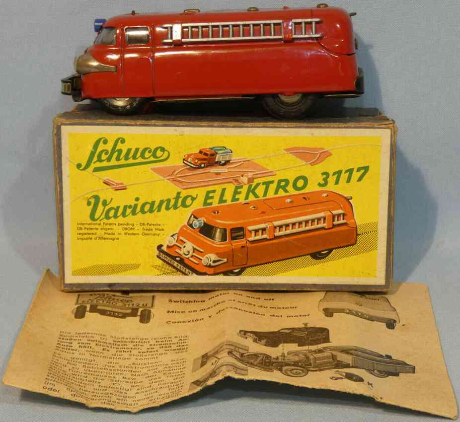 schuco 3117 tin toy engine varianto fire car with electric drive