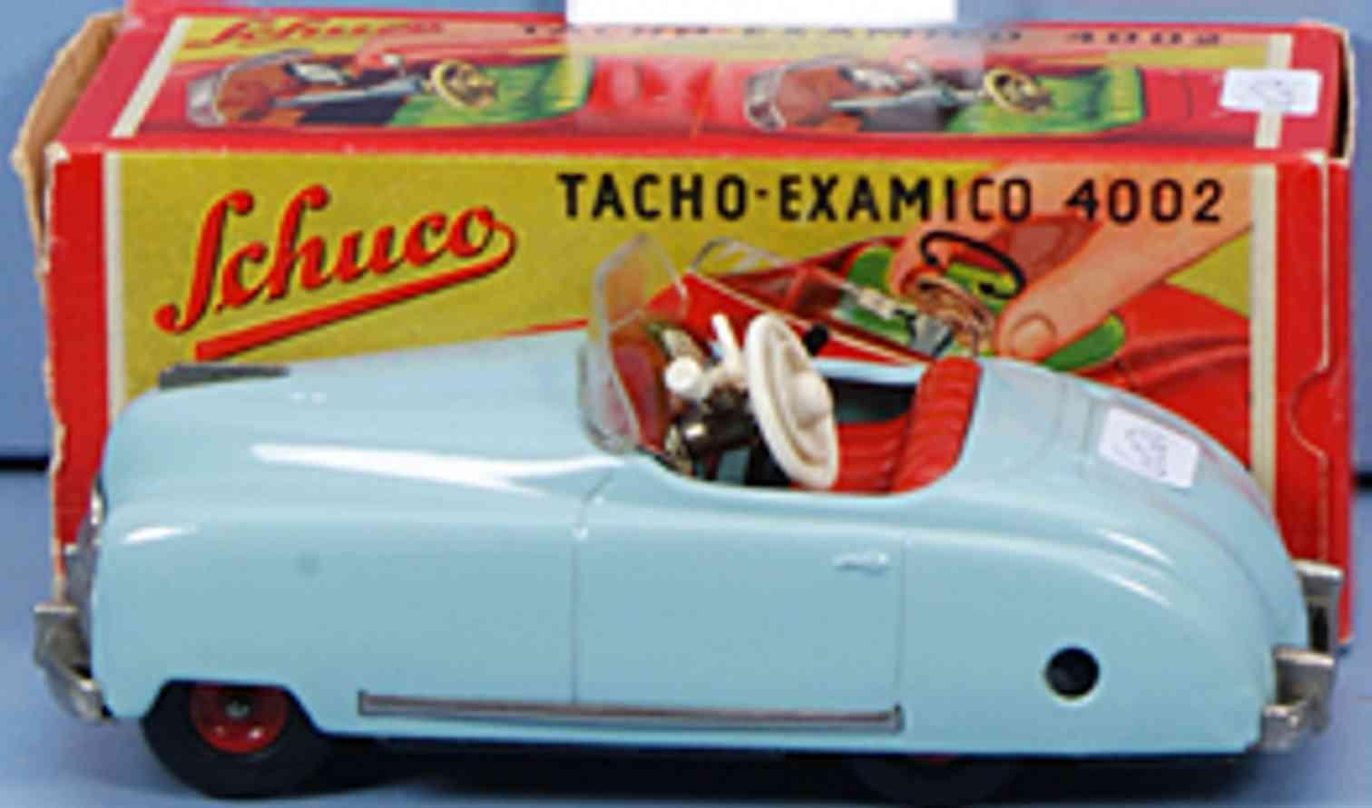 schuco 4002 tin toy car tacho examico light blue