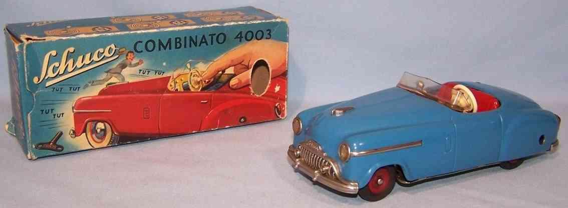schuco 4003 tin toy car combinato blue