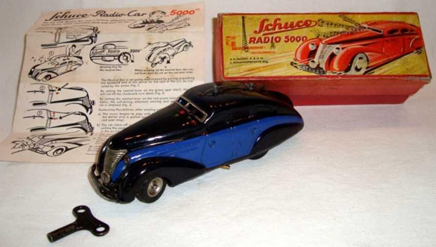 schuco radio 5000 blech spielzeug auto auto mit zwei uhrwerken