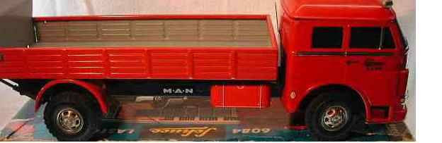 schuco 6084 tin toy truck lastomat truck, forward/reverse, working loading platform lo