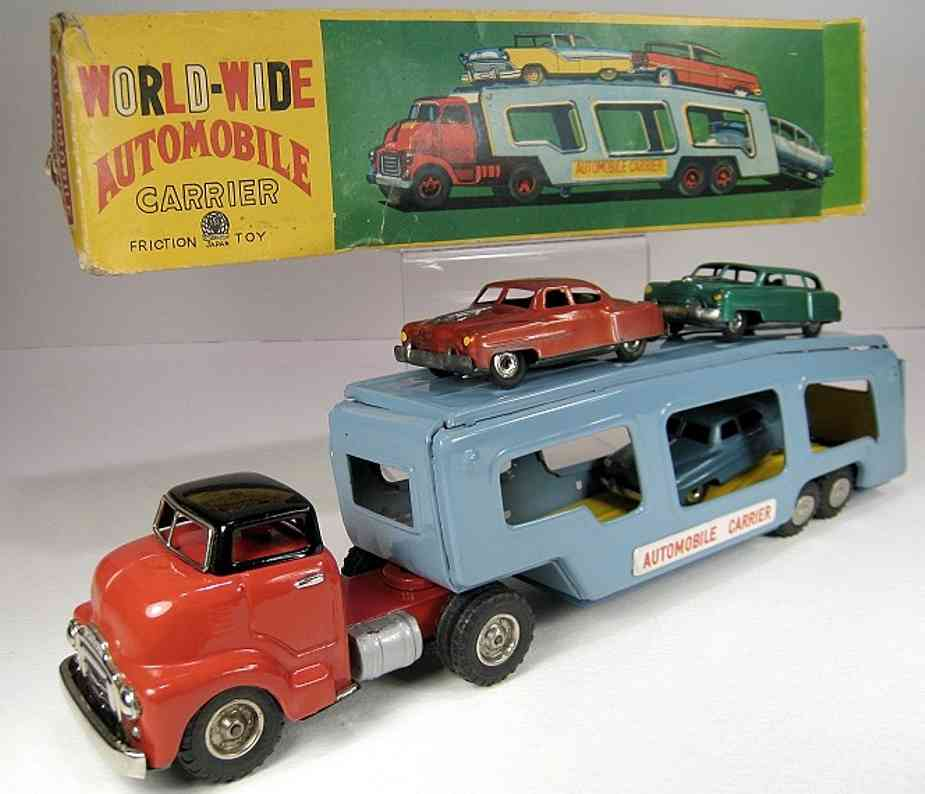 shioji shoten shioji & co ltd blech spielzeug lastwagen autotransportwagen in blau und rot mit friktionsantrieb und