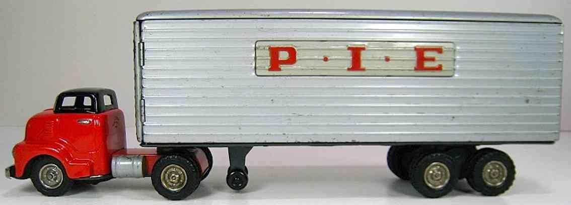 shioji shoten shioji & co ltd blech spielzeug lastwagen lastwagen gmb p.i.e mit friktionsantrieb in rot, silberfarbe