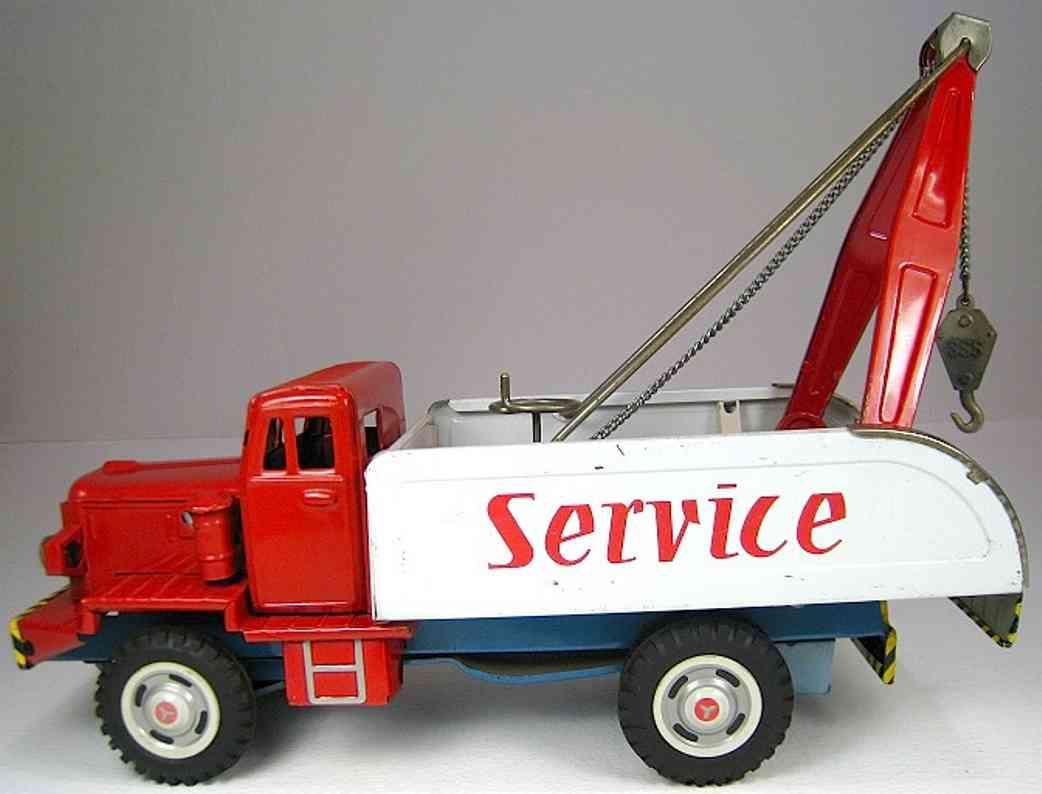 shioji shoten shioji & co ltd blech spielzeug lastwagen abschleppwagen in zwei rottönen und weiß mit friktionsanbrie