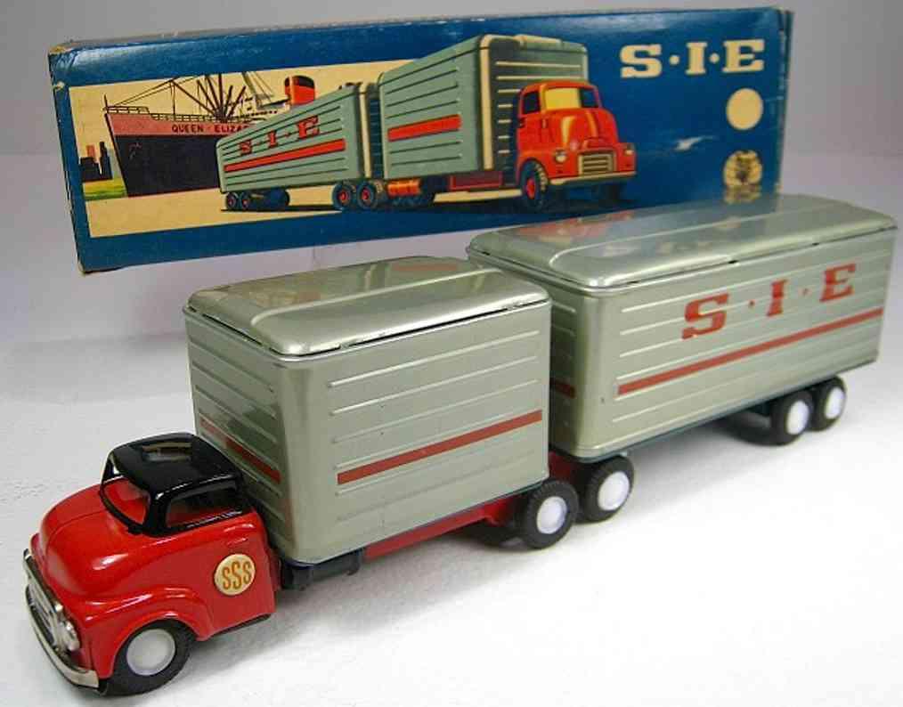 shioji shoten shioji & co ltd blech spielzeug lastwagen lastwagen mit anhänger und friktionsantrieb mit verpackung,
