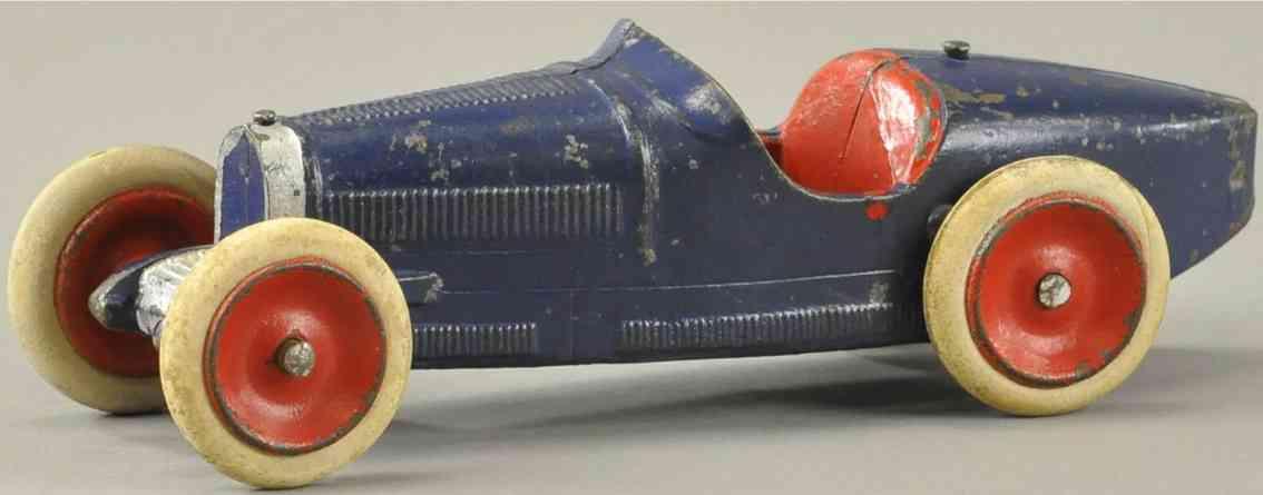 skoglund & olson cast iron toy race car bugatti racer blue red