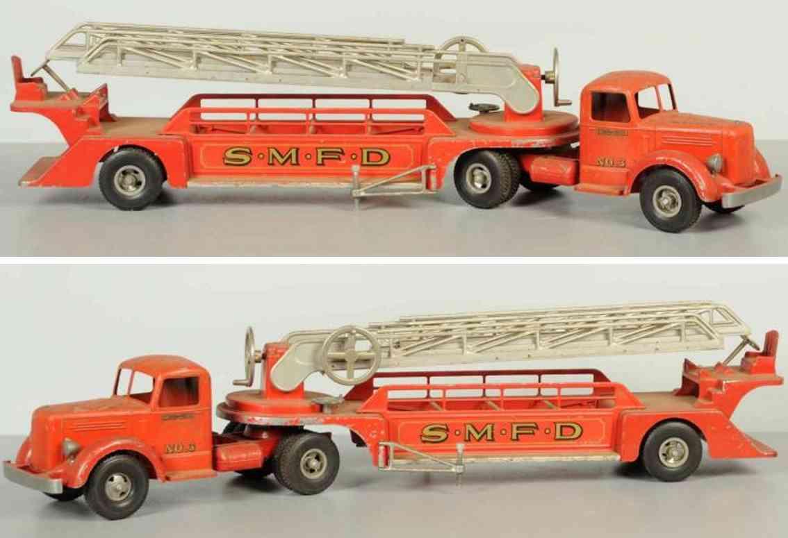 smith-miller 3 stahlblech spielzeug feuerwehr feuerwehrleiterwagen rot