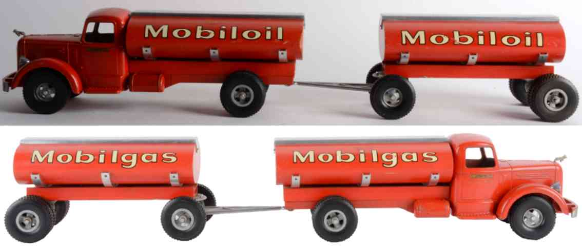 smith-miller pressed steel tin toy oil truck red mobiloil