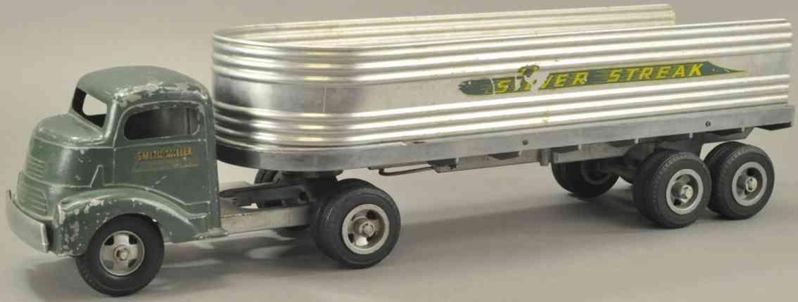 smith-miller blech spielzeug gmc silver streak express zugmaschine anhaenger