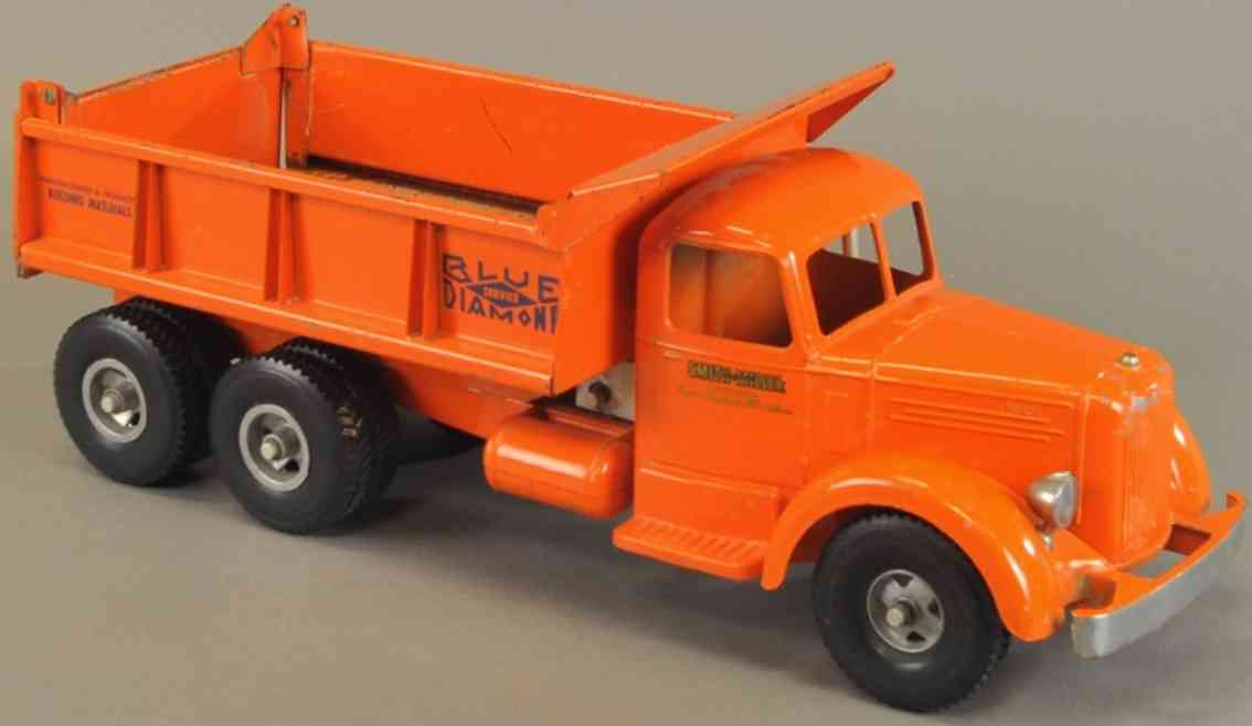 smith-miller blech spielzeug lastwagen l mack kipplastwagen orange